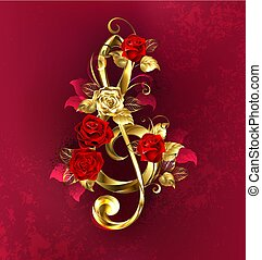 Musical key with roses