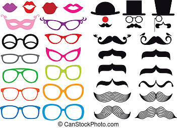 huge set of mustache and spectacles, vector design elements