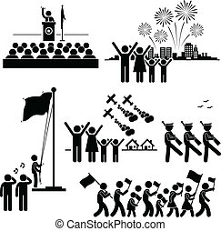 A set of pictograms representing people celebration national day.