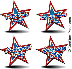 detailed illustration of a patriotic stars with national holidays text, eps 10 vector