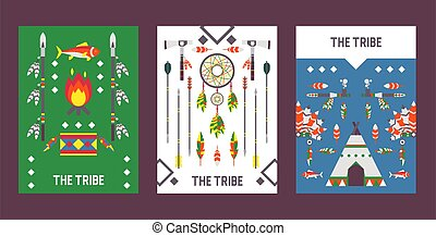 Native American indian culture banner with icons, vector illustration