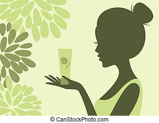 Illustration of a young woman holding a bottle of lotion.