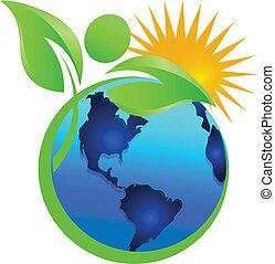 Natural life sun and earth logo