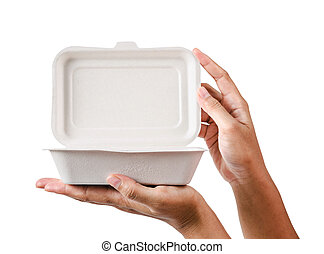 natural plant fiber food box in hand.