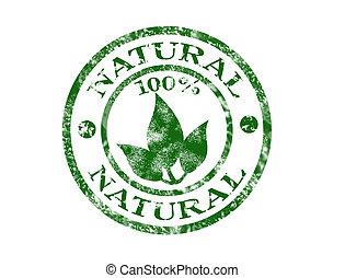 %100 natural grunge rubber stamp
