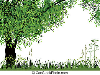 Green tree and meadow on white background with space for your text. Full scalable vector graphic included Eps v8 and 300 dpi JPG