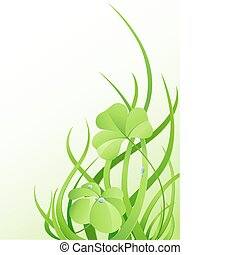 green grass and leaves of clover