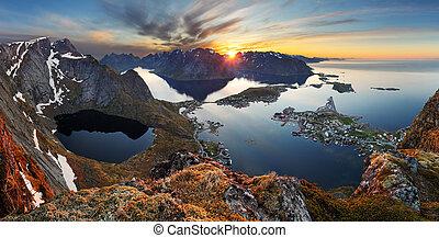 Nature panorama mountain landscape at sunset, Norway.