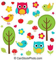 Vector set - owls, birds, flowers, butterflies, ladybugs etc.