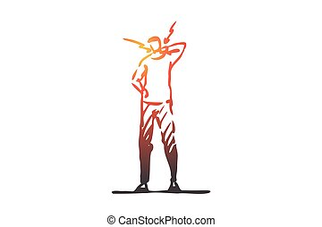 Neck, posture, bad, spine, human concept. Hand drawn isolated vector.