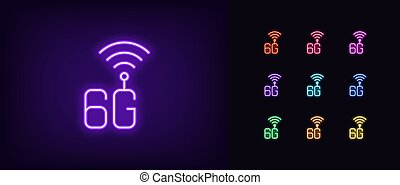 Neon 6G network icon. Glowing neon 6g technology sign, high speed internet