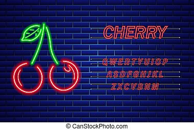 Neon cherry Vector sign. Red fruits with text. Bright glowing signboards