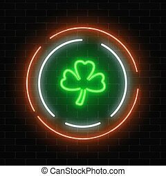 Neon glowing clover leaf sign. Green shamrock as Irish national holiday symbol in circle frames.