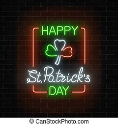 Neon glowing clover leaf sign in ireland flag colors on a dark brick wall background.