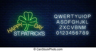 Neon glowing sign of happy st. Patrick day text, clover leaf with alphabet. Shamrock as Ireland national holiday symbol
