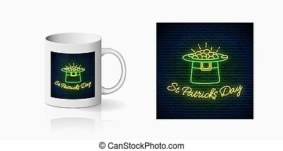 Neon glowing sign of St. Patricks Day with leprechaun hat and gold print for cup design. Happy saint Patrick day greeting design in neon style mug mockup. Vector. Green shamrock as Irish symbol