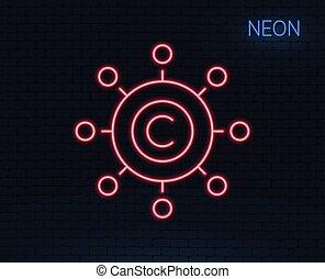 Copywriting network line icon. Copyright sign.