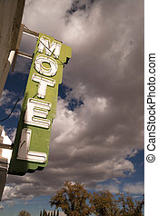 It's a clear blue sky day on main street in this one motel town
