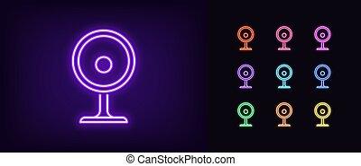 Neon webcam icon. Glowing neon internet camera sign