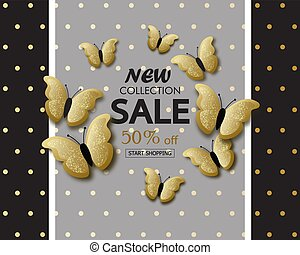 New collection sale banner background template with beautiful golden butterflies. Vector illustration.