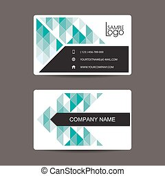 New modern simple light business card template with flat user interface
