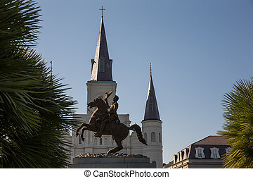 New Orleans - Andrew Jackson Statue and St. Louis Cathedral