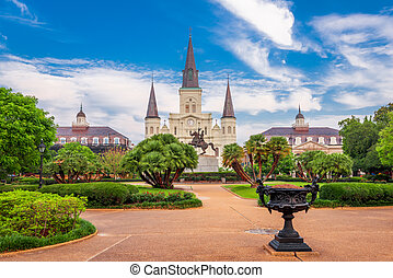 New Orleans, Louisiana, USA at Jackson Square and St. Louis Cathedral