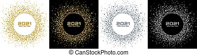 New Year 2021 night background party set. Greeting cards. Gold glitter paper confetti. Glistening silver festive lights. Glowing circle frame happy new year wishes. Christmas gold collection. Vector