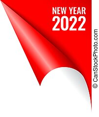 New Year 2022 curled page corner