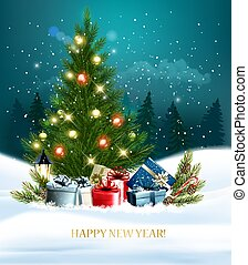 New Year holiday background with a colorful gift boxes on a tree. Vector illustration