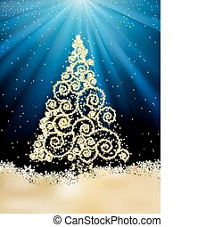 New Year template with Christmas tree. EPS 8
