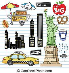 New York City Doodles Vector Set