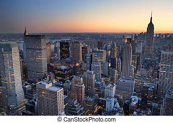 New York City Manhattan skyline panorama sunset aerial view with. empire state building