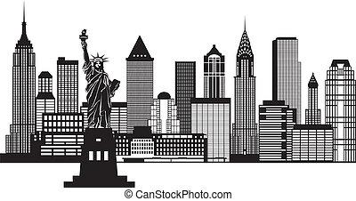 New York City Skyline Black and White Illustration