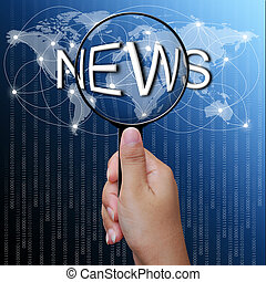 News, word in Magnifying glass, network background