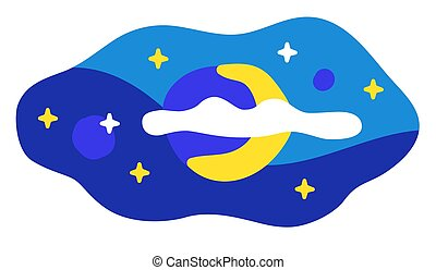 Night sky with stars and half moon. Abstract shape on white.