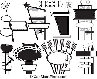 Nine Black and White Retro Advertising Signs