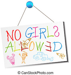 An image of a child's no girls allowed sign.