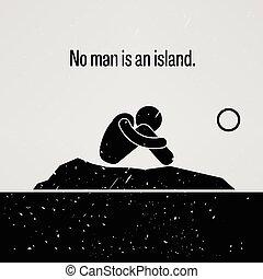 No Man is an Island Stick Figure Pi