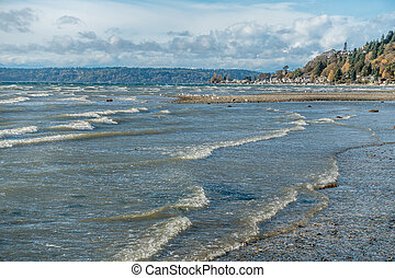 A view along the shoreline at Normandy Park, Washington on a windy day.