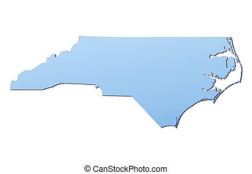 North Carolina(USA) map filled with light blue gradient. High resolution. Mercator projection.