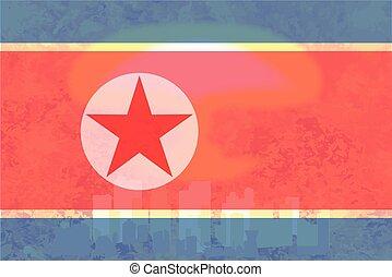 North Korea Flag Atomic Bomb Background