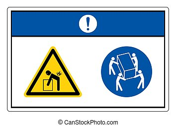 Notice Lift Hazard Use Four Person Lift Symbol Sign On White Background