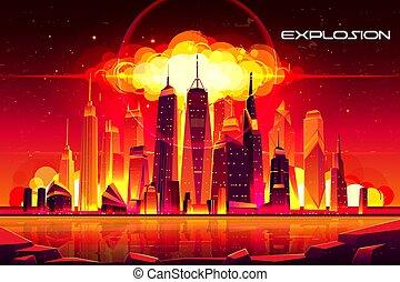 Nuclear explosion city metropolis mushroom cloud