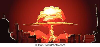 Nuclear Explosion Mushroom Cloud Retro Poster