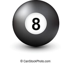 Number 8 pool ball isolated on white