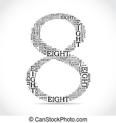 number eight created from text - illustration