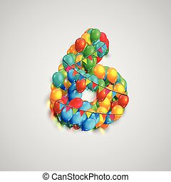 Number made by colorful balloons, vector