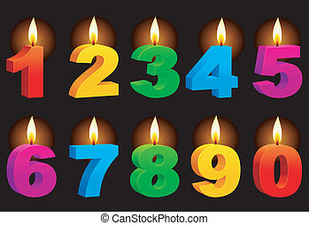 Set of 10 numbered color candles.