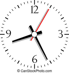 Numbered clock, vector illustration isolated on white
